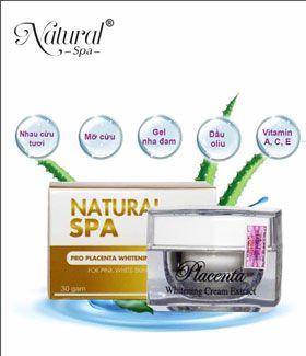 Kem trắng da Natural Spa chiết xuất 100% từ nhau cừu tươi nguyên chất.