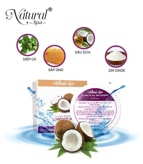 Kem chống nắng dầu dừa Natural Spa