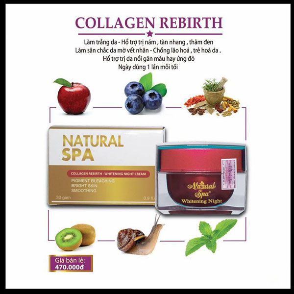 Kem trắng da collagen rebirth Natural spa
